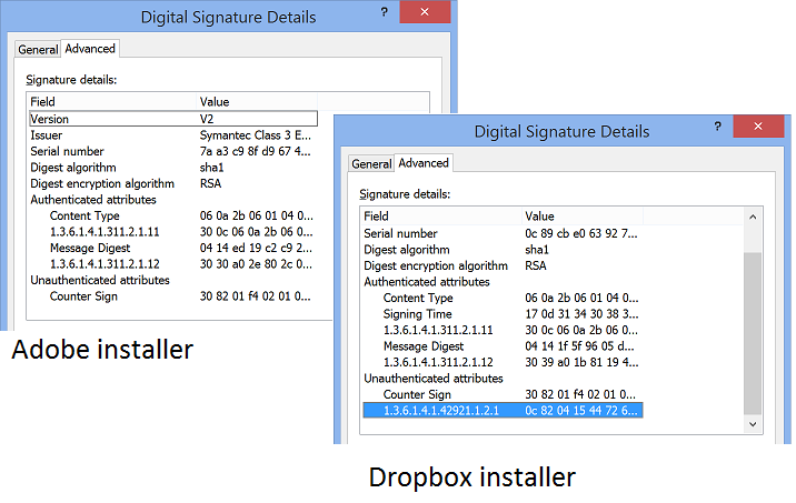 Adobe installer on left, Dropbox installer with unauthenticated attribute on the right