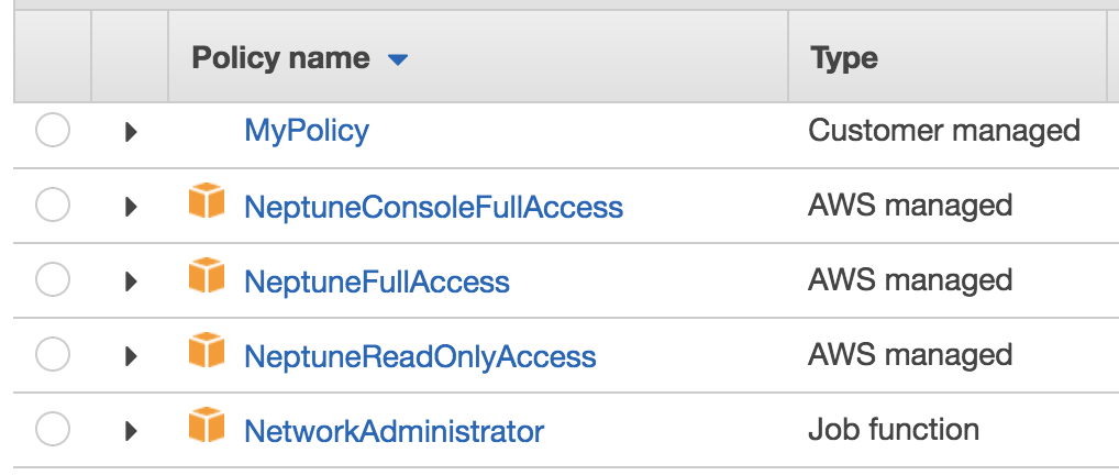 Screenshot of console showing AWS Managed policies