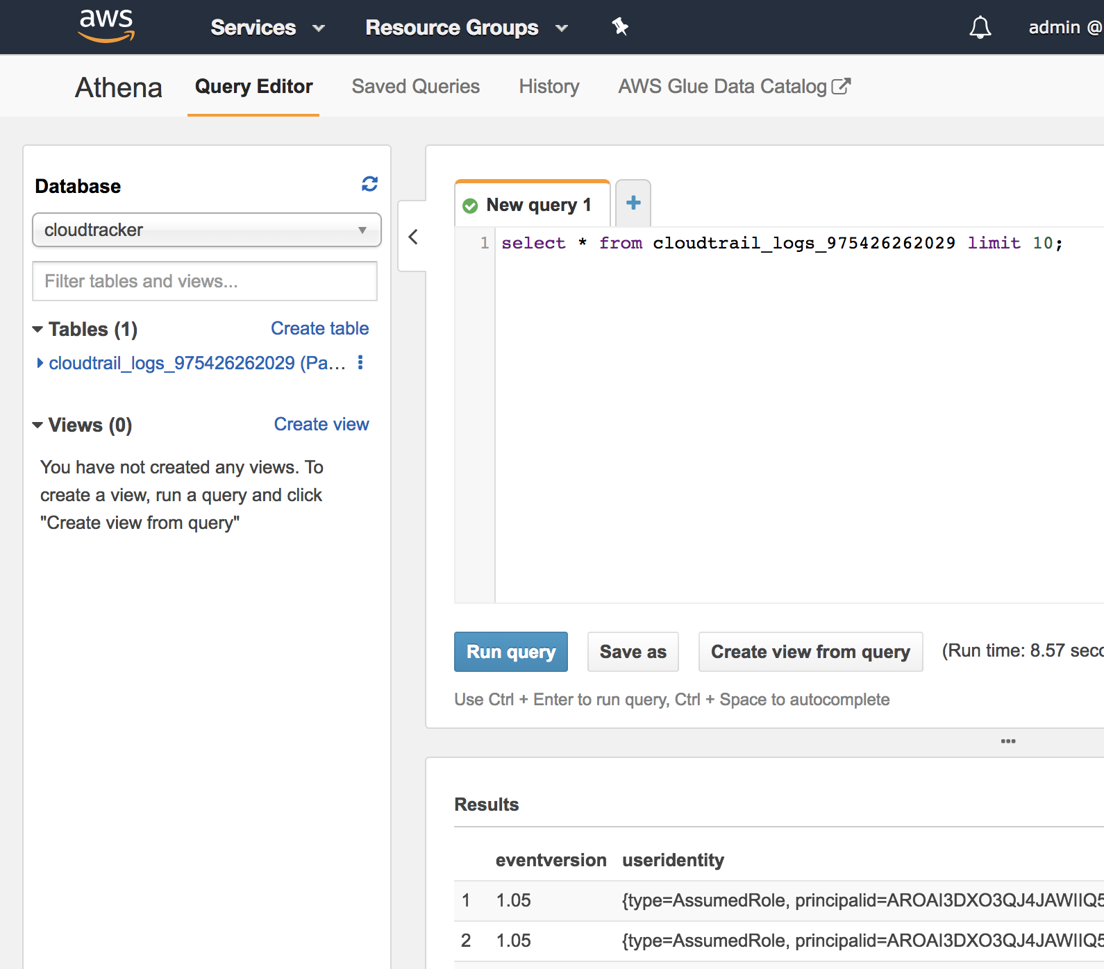 AWS Athena querying CloudTrail