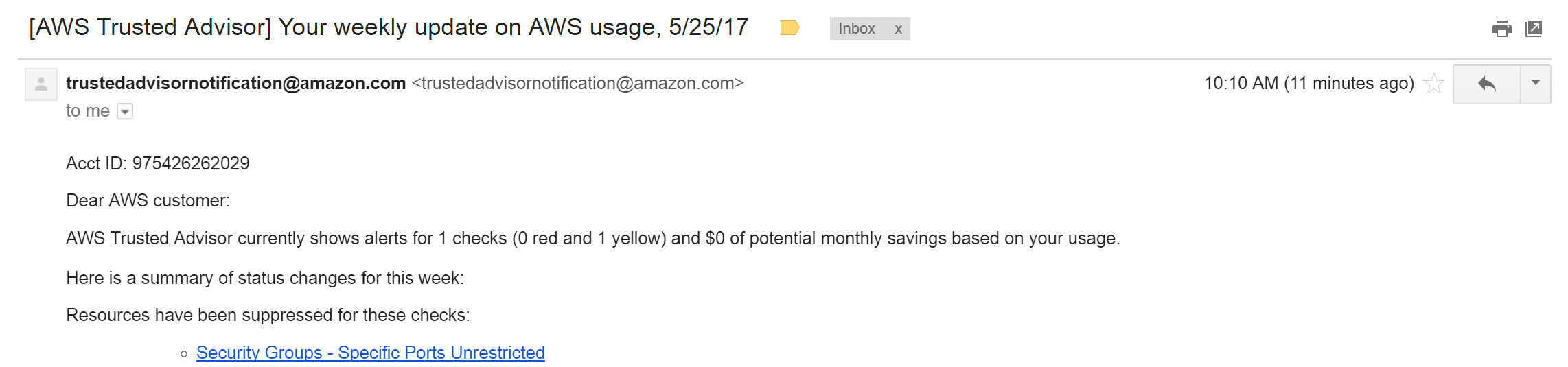 AWS Trusted Advisor email