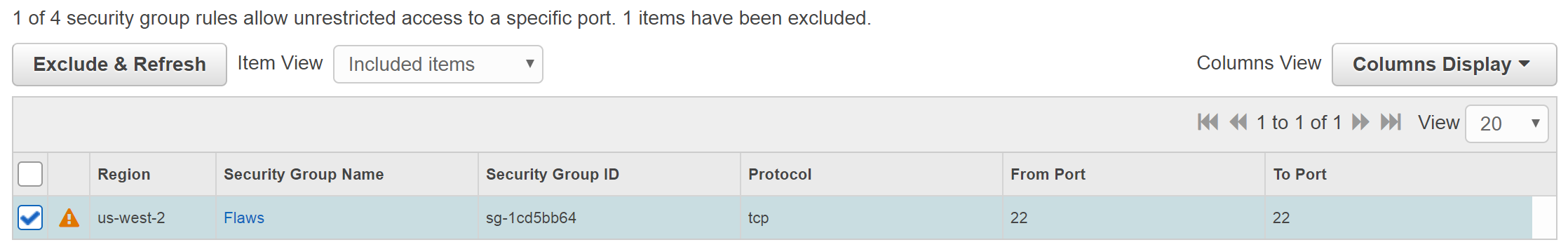 AWS Trusted Advisor exclusion
